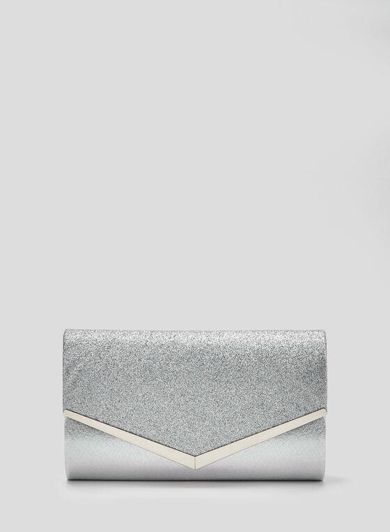 Envelope Glitter Clutch, Silver, hi-res