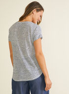 T-shirt rayé aspect lin, Bleu