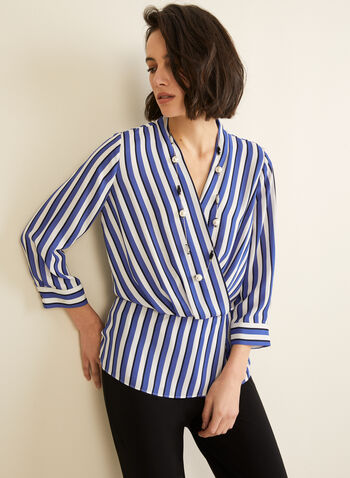 Stripe Print Crepe Blouse, Blue,  blouse, long sleeves, stripes, faux wrap, crepe, V-neck, spring 2020, summer 2020