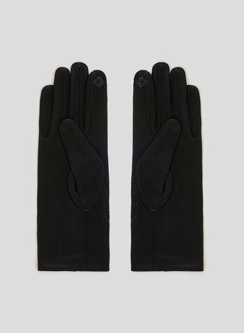 Embroidered Gloves, Black, hi-res