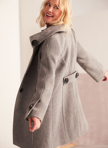 Stretch Faux Wool Coat, Grey,  fall winter 2020, coat, stretchy, wool, envelope collar, large button, detail, accent, princess seam, fit, flare, pocket, stretch, warm, winter, long sleeve