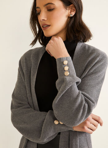 Long Sleeve Open Cardigan, Grey,  fall winter 2020, cardigan, sweater, open front, button detail, long sleeve, balloon sleeve, detailing, soft, comfort, stretch, tunic