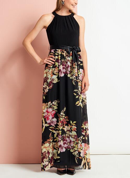Tuck Neck Floral Print Maxi Dress, Black, hi-res