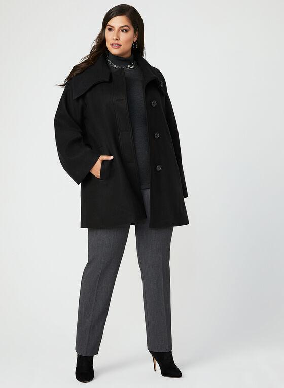 Envelope Collar Button Down Coat, Black, hi-res