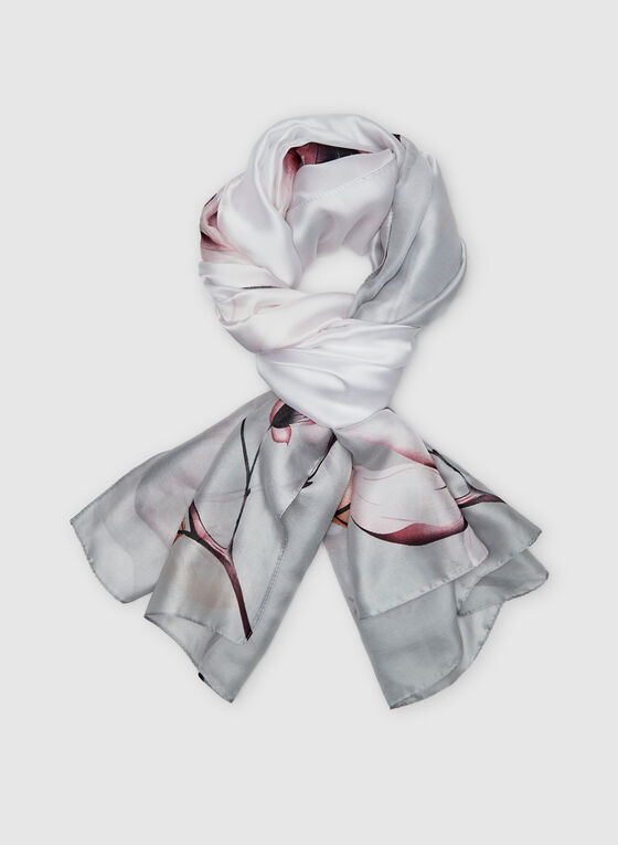 Foulard léger motif floral, Gris