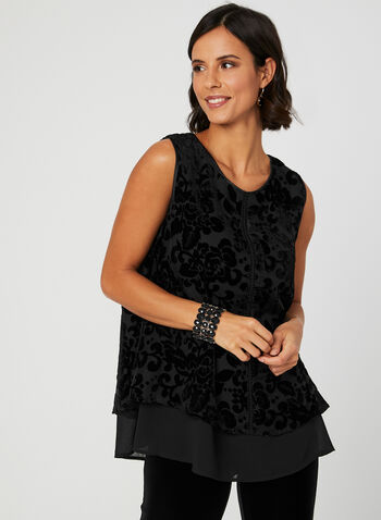 Ness - Velour Burnout Blouse, Black, hi-res