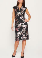Metallic Floral Print Scuba Dress, Black, hi-res