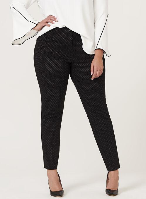Birdseye Print Slim Leg Pants, Black, hi-res