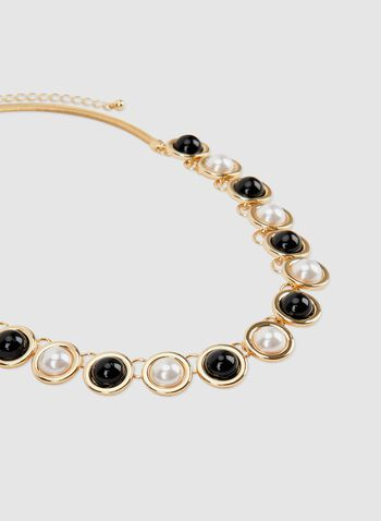 Pearl Snake Chain Necklace, Black, hi-res