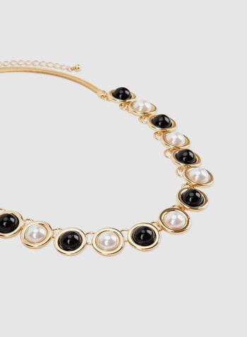 Collier en maille serpent à billes et perles, Noir, hi-res