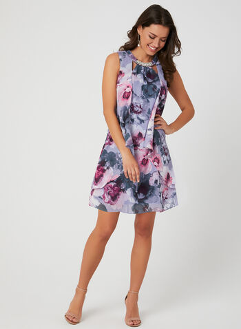 Floral Print Chiffon Dress, Purple, hi-res