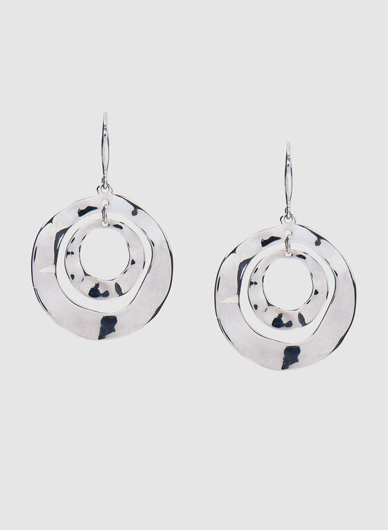 Boucles d'oreilles à pendants cercles martelés, Argent, hi-res