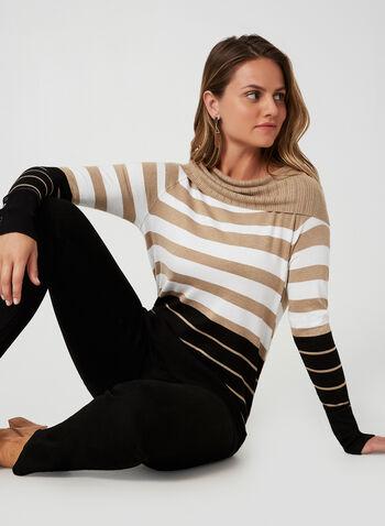 Marilyn Neck Sweater, Brown, hi-res,  sweater, knit, Marilyn collar, long sleeves, fall 2019, winter 2019