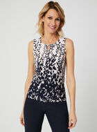 Leaf Print Sleeveless Top, Multi, hi-res