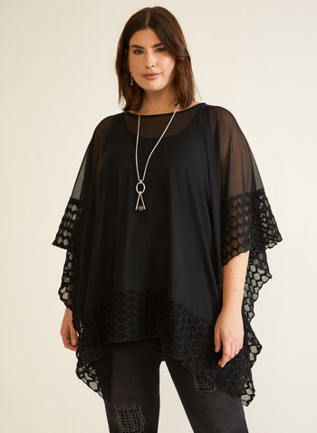 Novelty Trim Mesh Poncho, Black,  fall winter 2020, made in Canada, poncho, mesh, tunic, novelty, holiday, scoop neck,