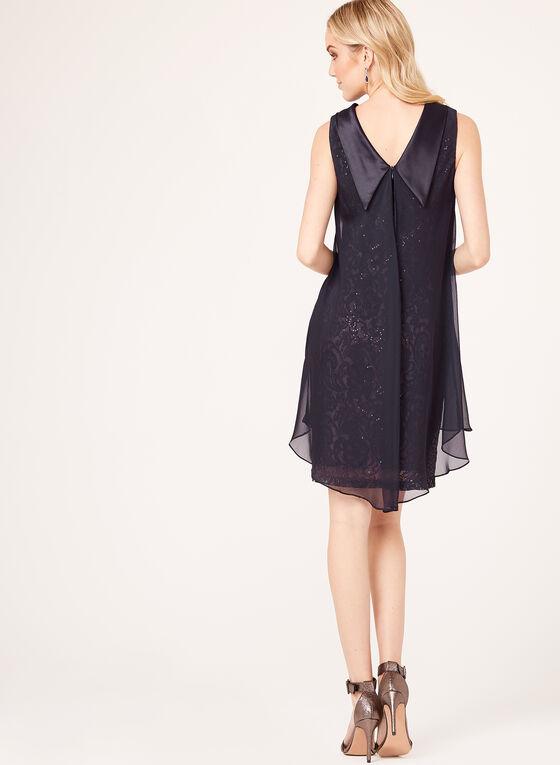 Chiffon Sequin Lace Sheath Dress, Purple, hi-res