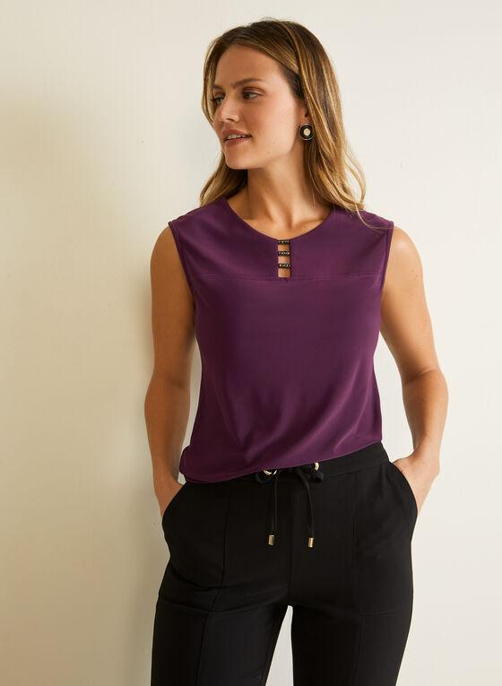 Metallic Detail Sleeveless Top, Purple