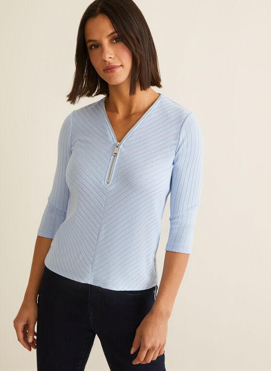 Zipper Detail Rib Knit Top, Blue