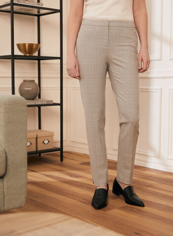 Modern Fit Tartan Print Pants, Grey,  pants, modern fit, straight leg, bi-stretch, tartan, pleats