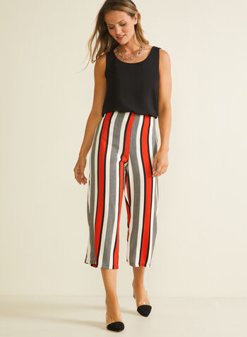Stripe Print Gaucho Pants, Red,  capris, gaucho, culottes, pull-on, wide leg, striped, crepe, spring summer 2020