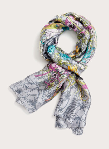 Pansy Field Floral Print Scarf, Grey, hi-res