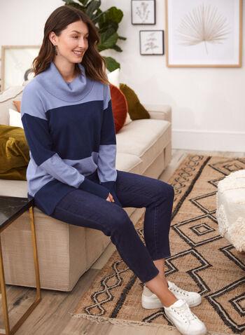 Stripe Print Cowl Neck Tunic, Blue,  top, sweater, knit, cowl neck, long sleeves, tunic, stripe print, fall winter 2021