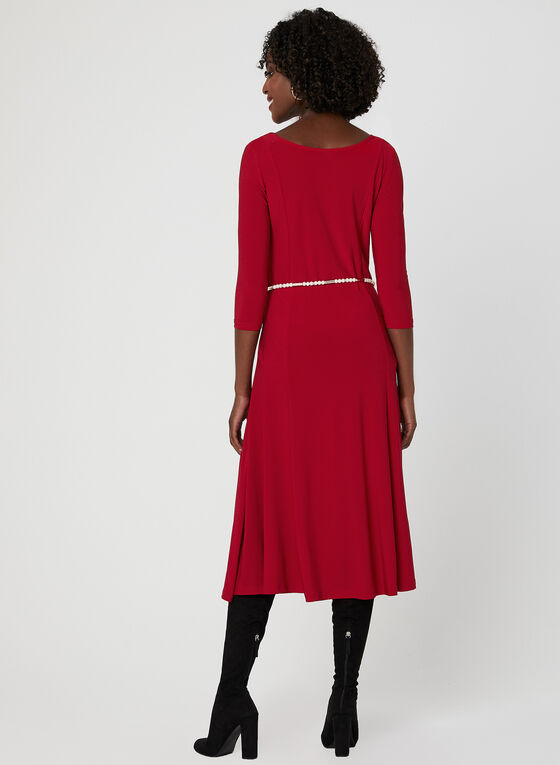 Nina Leonard - ¾ Sleeve Dress, Red, hi-res