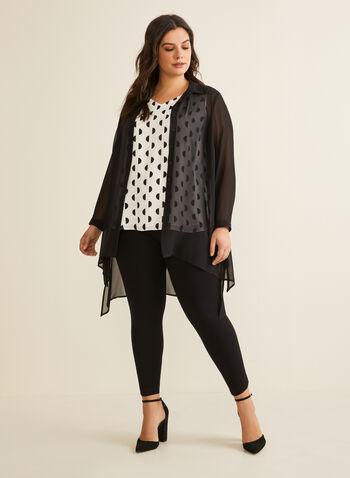 Long Sleeve Sheer Chiffon Blouse , Black,  Spring 2020, tunic, blouse, sheer, chiffon, long sleeves, buttons, slits
