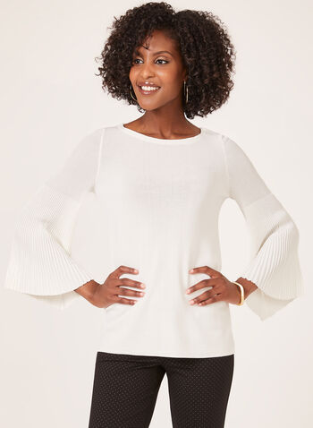 Pleated Bell Sleeve Sweater, Off White, hi-res