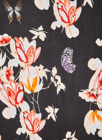 Foulard léger fleurs et papillons, Rouge, hi-res