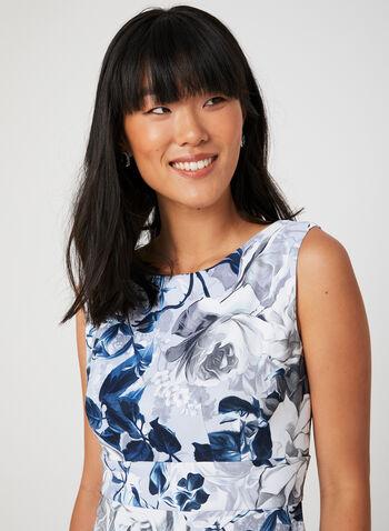 Tiered Skirt Sleeveless Dress, Silver, hi-res,  floral print, sheath dress