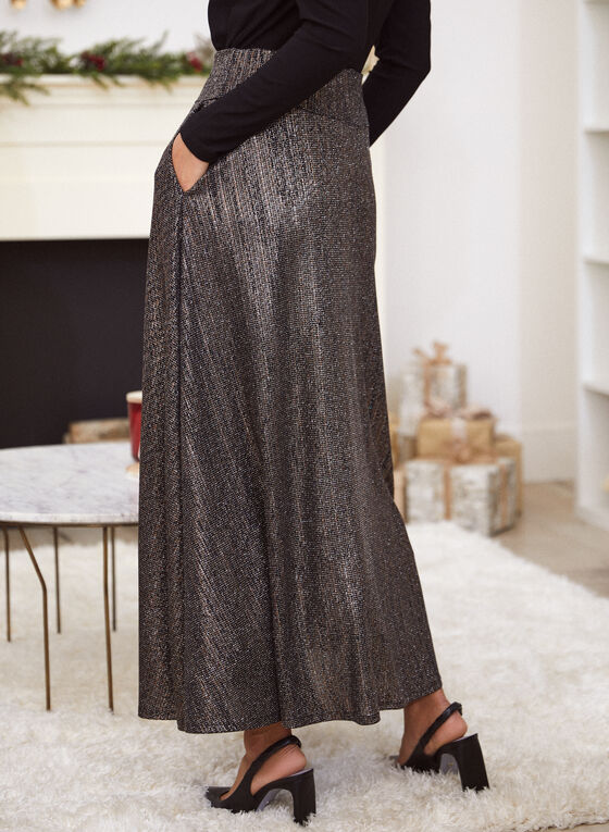 Glitter Pull-On Maxi Skirt, Black