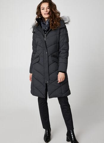 Bernardo - Medium Length Chevron Quilt Coat, Grey,  coat, winter coat, faux fur, faux fur coat, long coat, zippered coat, fall 2019, winter 2019