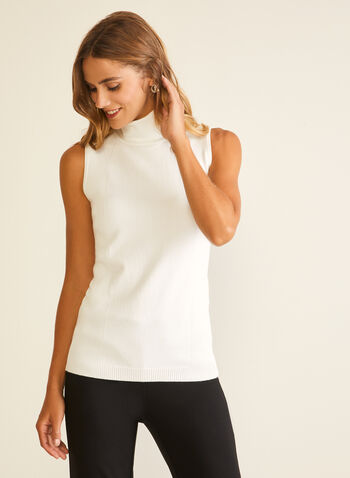 Sleeveless Turtleneck Sweater, White,  sweater, sleeveless, turtleneck, rib knit, fall winter 2020