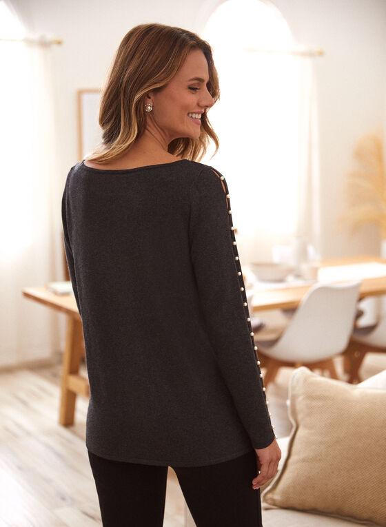 Pearl Detail Sweater, Grey