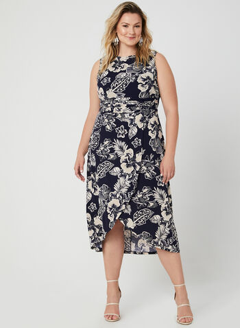 Sleeveless Jersey Dress, Blue, hi-res,  fall 2019, winter 2019, ruched waist, jersey fabric, floral print, boat neck, sleeveless