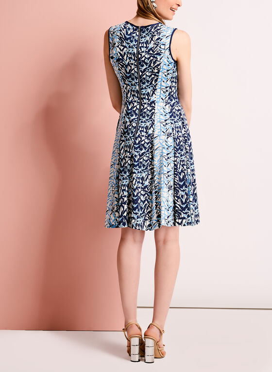 Bamboo Print Fit & Flare Dress, Blue, hi-res