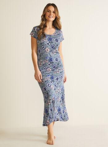 Robe de nuit à manches courtes et motif floral , Bleu,  pyjama, vêtements de nuit, motif floral, automne hiver 2020, encolure dégagée, manches courtes