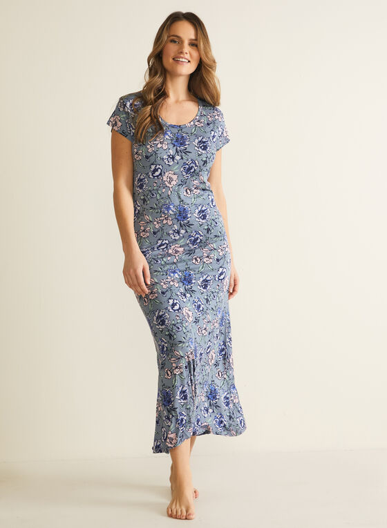 Floral Print Short Sleeve Nightgown, Blue