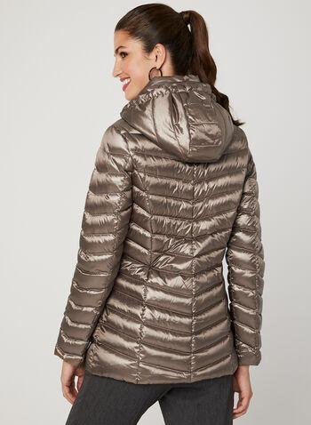Manteau matelassé compressible avec capuchon amovible, Brun, hi-res