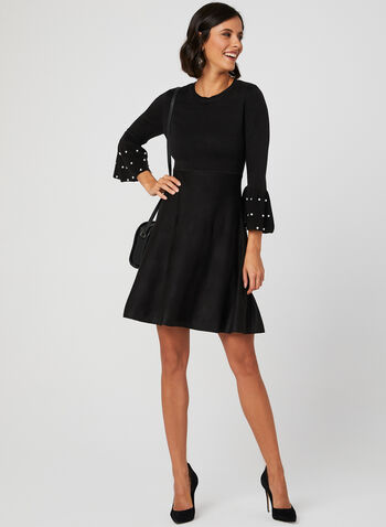 Fit & Flare Bell Sleeve Dress, Black, hi-res