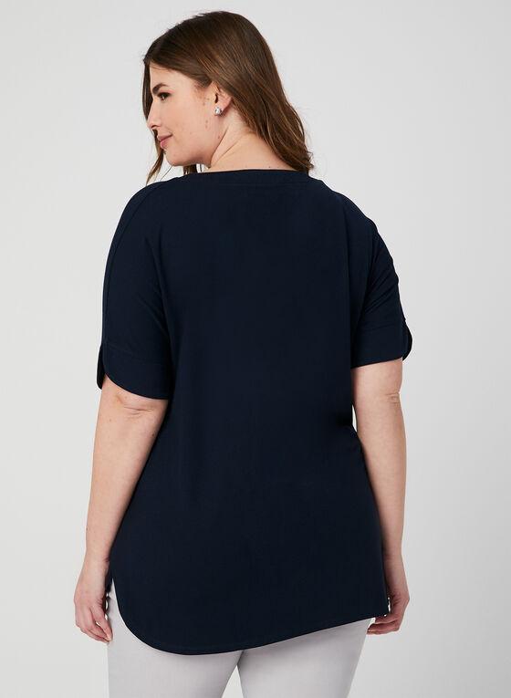 T-shirt à col lacé et manches courtes, Bleu