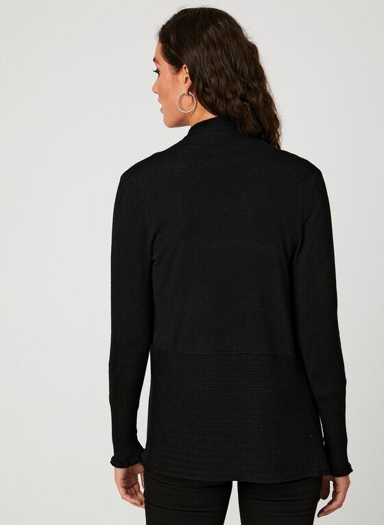 Cardigan ouvert en tricot pointelle, Noir, hi-res