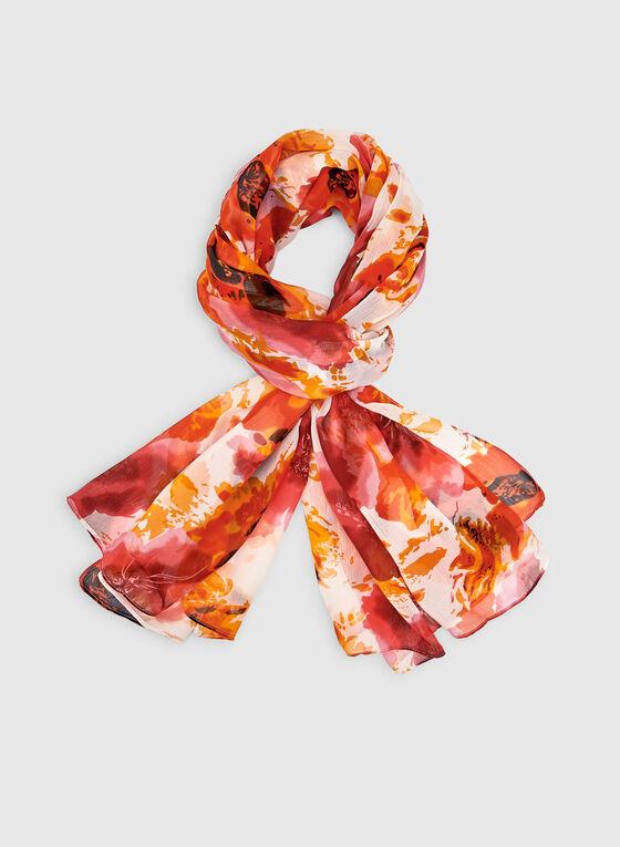 Foulard léger fleuri, Orange, hi-res
