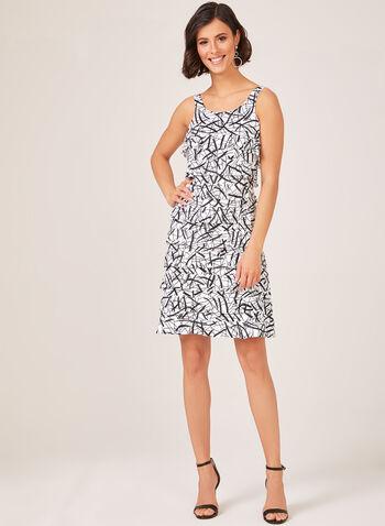 Sleeveless Ruffle Jersey Dress, White, hi-res