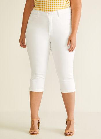 Capri à jambe étroite , Blanc,  capri, étroit, poches, ourlet, printemps été 2020