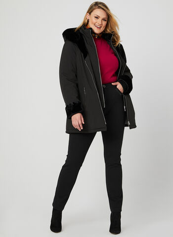Marcona - Faux Fur Trim Coat, Black, hi-res