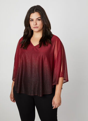Ombre Metallic Poncho Top, Red, hi-res,  canada, metallic top, top, metallic, glitter top, glitter, poncho, v-neck, holiday, slit, fall 2019, winter 2019