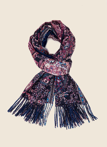 Paisley Print Reversible Scarf, Purple,  scarf, paisley, reversible, fringe, fall winter 2020