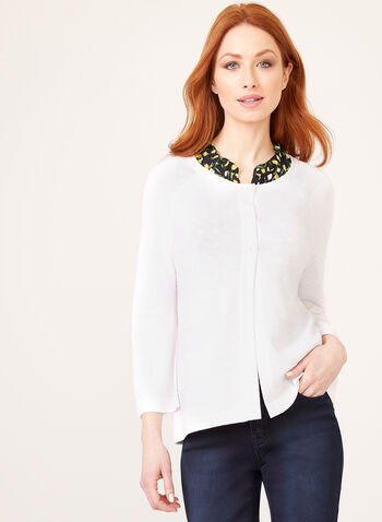 ¾ Sleeve Knit Cardigan, White, hi-res